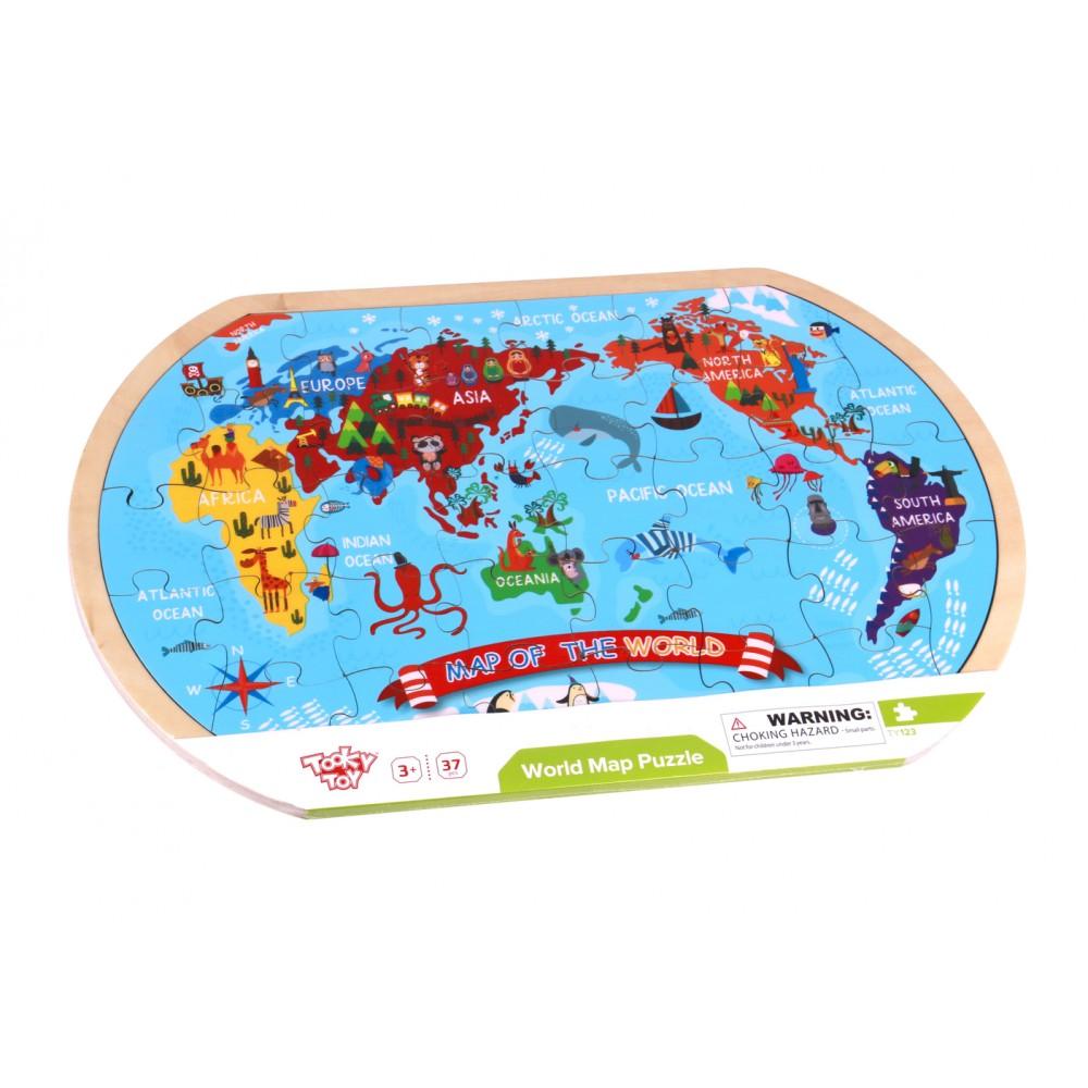 Drvena mapa sveta - puzle
